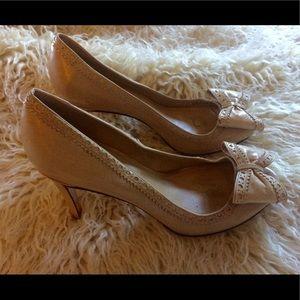 EUC-Cole Haan Nude Leather Peep-Toe Heels-8M